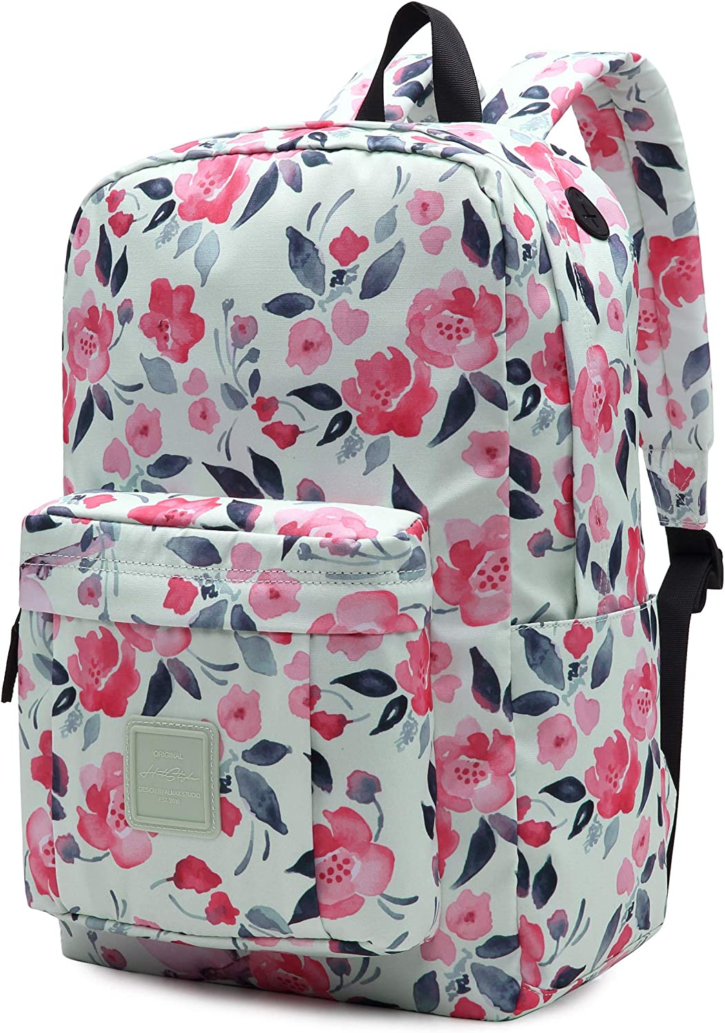 599s Floral School Backpack For Teen Girls, Water resistance & Durable Bookbag Cute for College, Peach Blossom, White