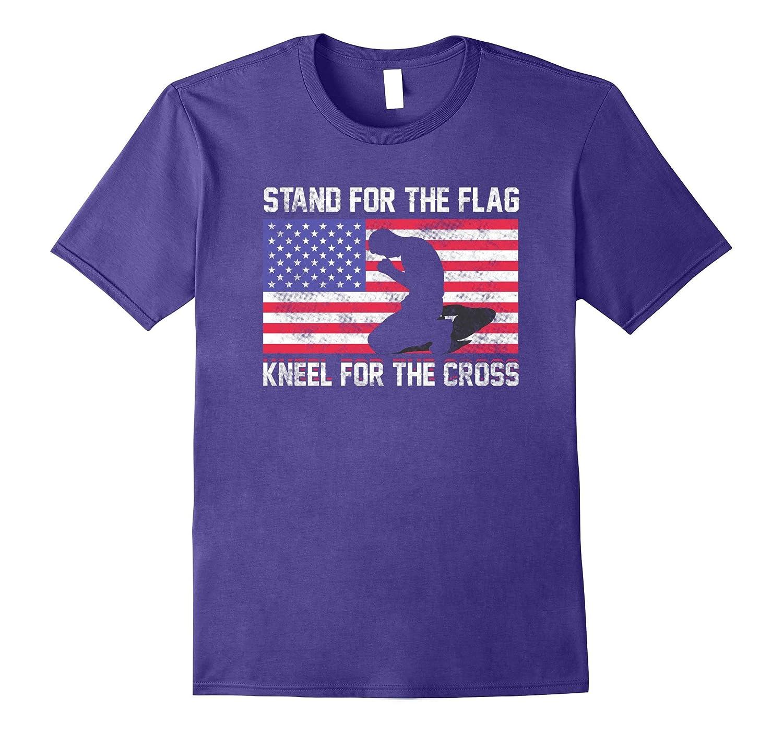 Stand for the Flag, Kneel for the Cross USA Flag Shirt-T-Shirt
