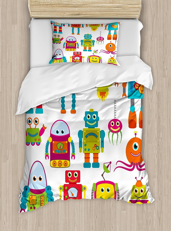 少年の部屋の布団カバーセットby lunarable、ロボット図面で将来Smiling面Aliensおもちゃ楽しいゲームwithアニメスタイル、装飾寝具セット枕のカバー、マルチカラー TWIN / TWIN XL nev_40600_twin B076FRB1W6 TWIN / TWIN XL|マルチ1 マルチ1 TWIN / TWIN XL