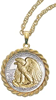 product image for Coin Pendant Necklace Walking Liberty Half Dollar– United States Genuine Coin | Eagle Reverse Side| Goldtone 24 Inch Rope Chain | Certificate of Authenticity - American Coin Treasures