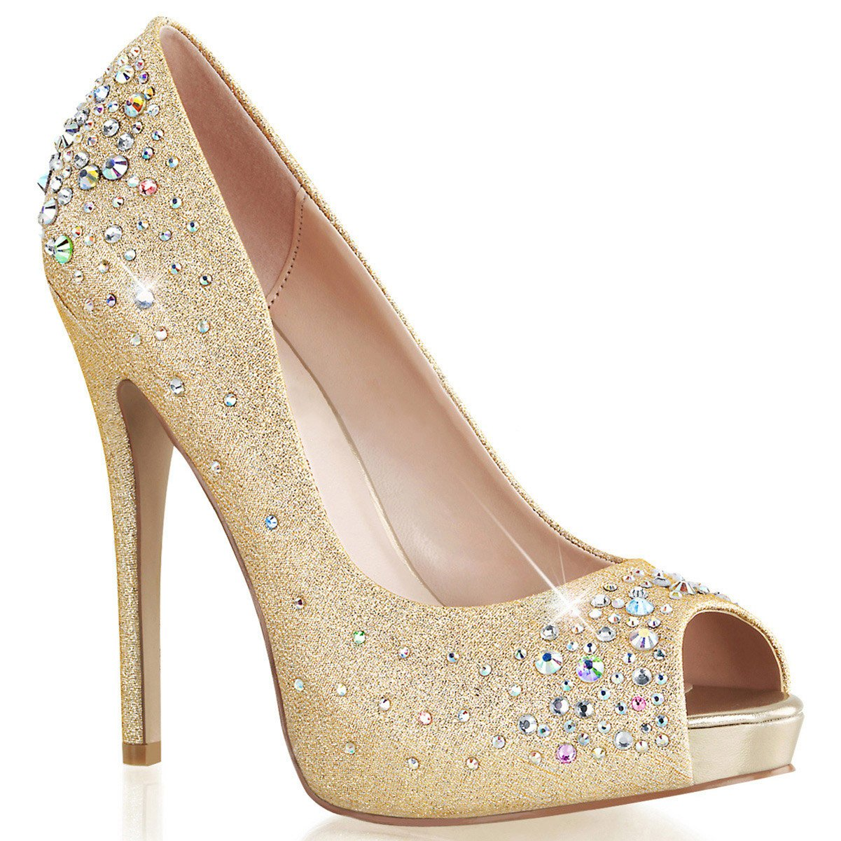 fd23196a0a0 Womens Dazzling Gold Peep Toe Pumps with Rhinestone Detail and 5 Inch Heels