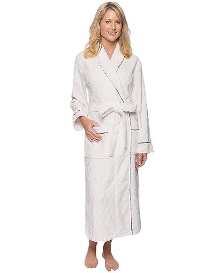 Noble Mount Women s Premium Coral Fleece Plush Spa Bath Robe - Diamond  Cream - Small 5f5edfd3d