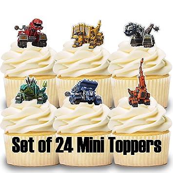 Amazon.com: 24 mini decoraciones para cupcakes de dinotrux ...