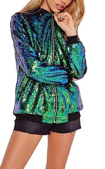 Mujer Chaquetas De Lentejuelas Brillo Verde Elegantes Retro De Bomber Jacket Invierno Otoño Manga Larga Stand Cuello con Cremallera Moda Casual Abrigos ...