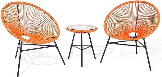 Beliani Acapulco - Mesa y 2 sillas de jardín «Spaghetti» con ...