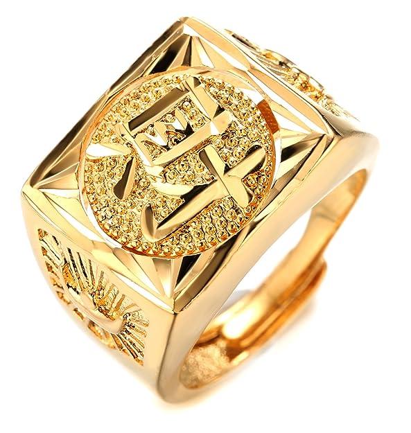 2218fd16d06d Halukakah Oro Bendiga Todo Hombres Anillo Chapado en 18K Oro Real Rotativo  ÉXITO Bendiga Rico Suerte Tamaño Ajustable con CajaDeRegaloGRATIS