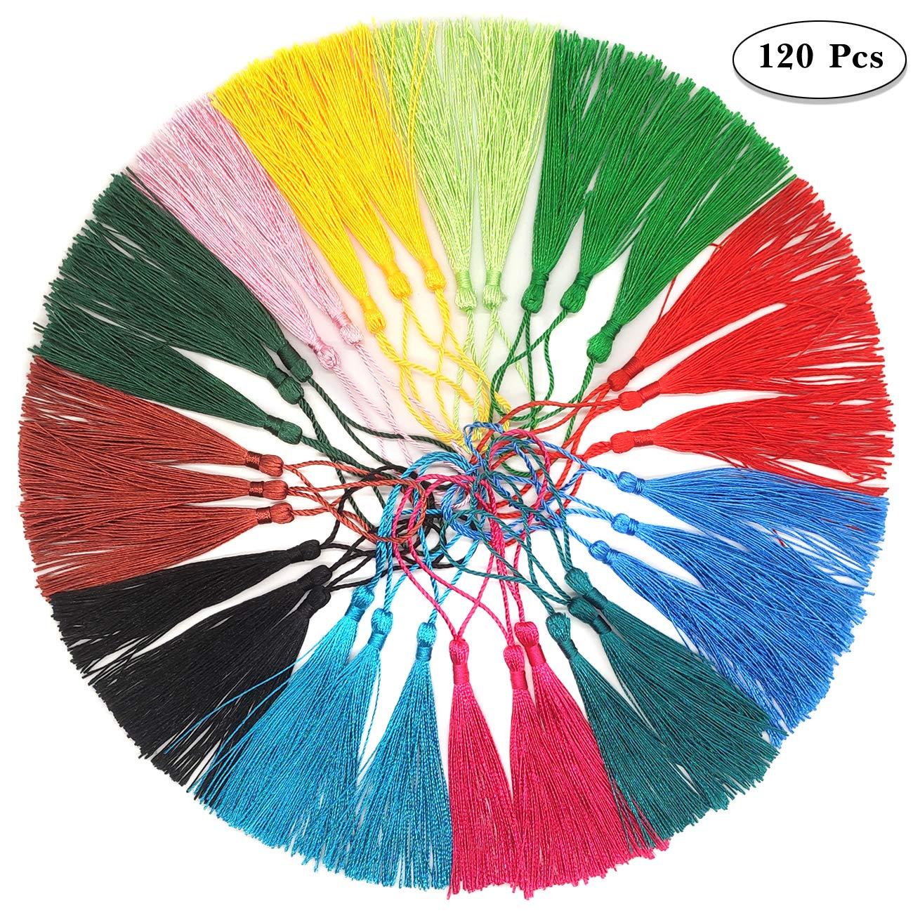 Regali e Portachiavi,12 Colori Mini Nappe Decorativi Nappine per Creare Gioielli Fai da Te,Orecchini 13 cm // 5 Pollici YuChiSX 120 pz Silky Soft Handmade Craft Mini Nappe