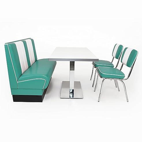 American Diner Sitzgruppe Türkis: Sitzbank Viber 120cm + Diner Tisch + 2x  Retro Stuhl
