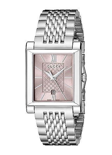 Gucci YA138502 - Reloj de cuarzo para mujer, con correa de acero inoxidable, color plateado: Amazon.es: Relojes