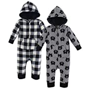 Yoga Sprout Fleece Union Suit, 2 Pack, Bear, 0-3 Months