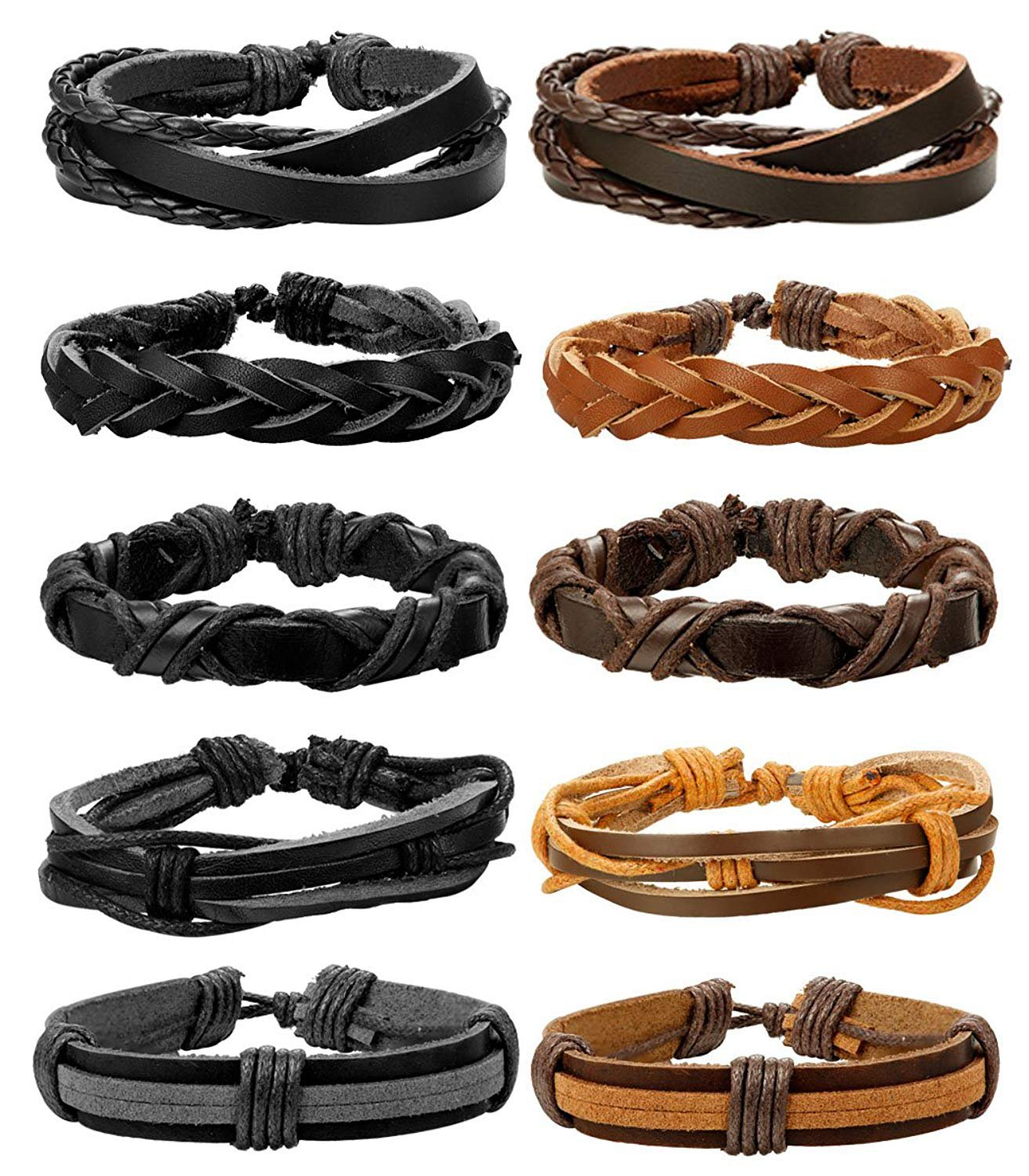 Besteel 10-12PCS Braided Leather Bracelets for Men Women Rope Bracelet Wrap Handmade, Adjustable B023-Q12