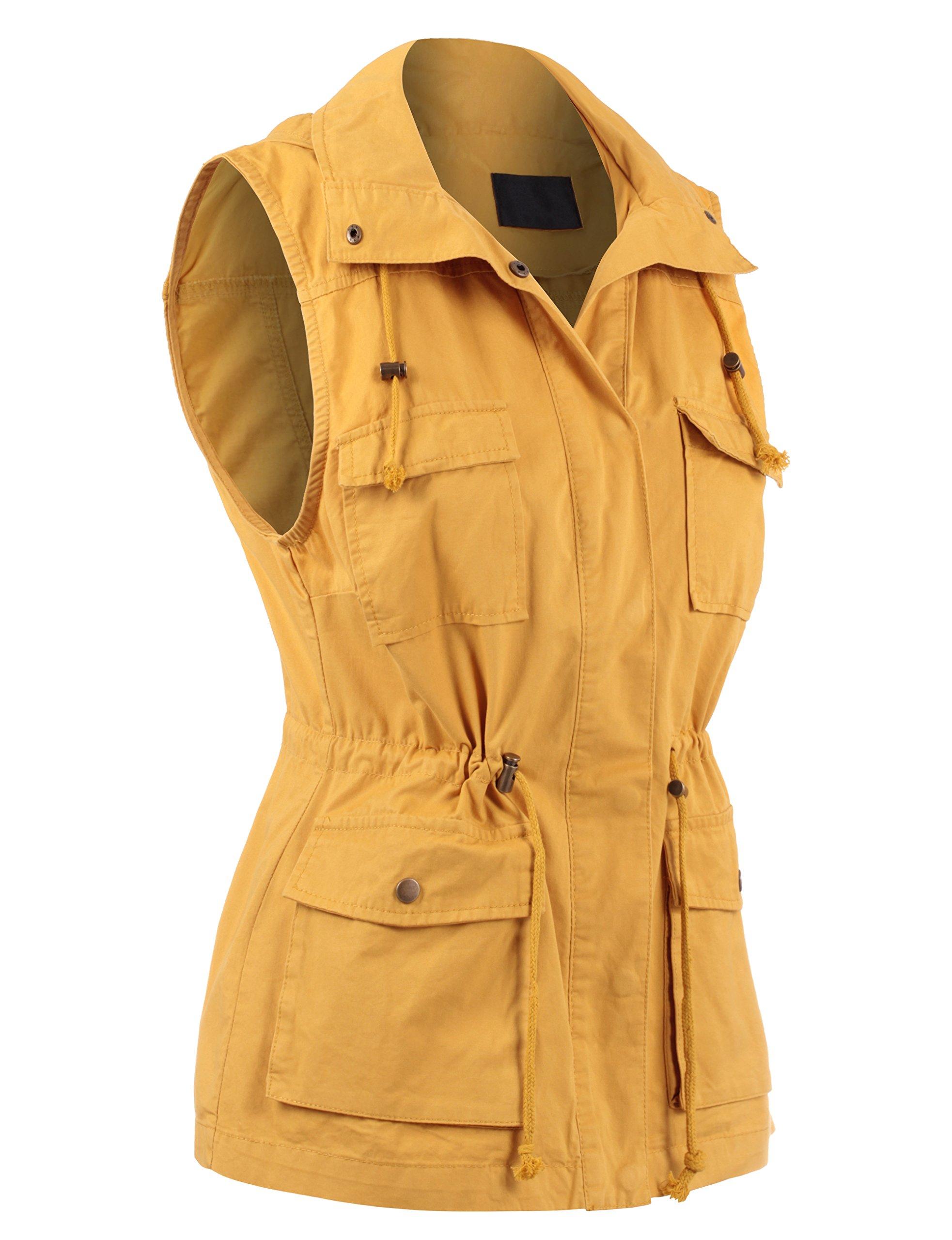 BEKTOME Womens Solid Sleeveless Military Anorak Utility Vest-M-Mustard