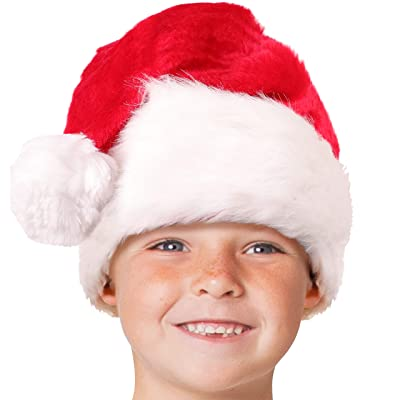 Child Plush Santa Hat for Kids; Unisex, Toddler Ages 3-10 Red: Clothing