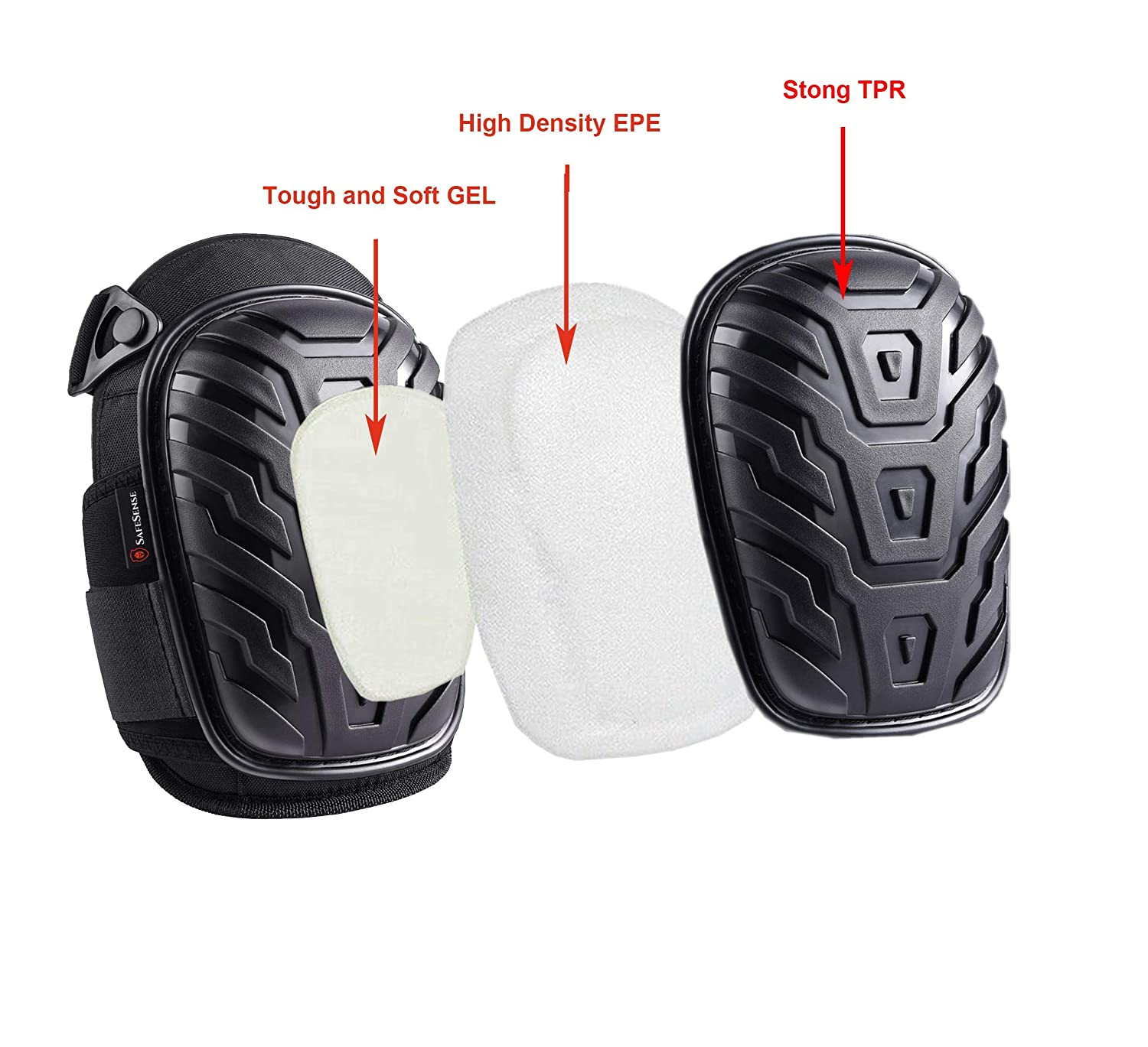Knee Pads for Work Construction Gardening Cleaning Heavy Duty EVA Foam Padding and Comfortable Gel Cushion with Strong Double and Adjustable Neoprene Straps Black