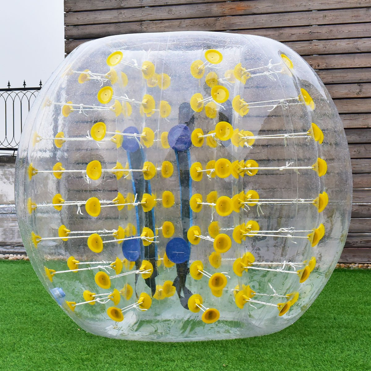 Costzon Bubble Soccer Ball, Dia 5' (1.5m) Human Hamster Ball, Inflatable Bumper Ball for Kids and Adults (Yellow Dot)