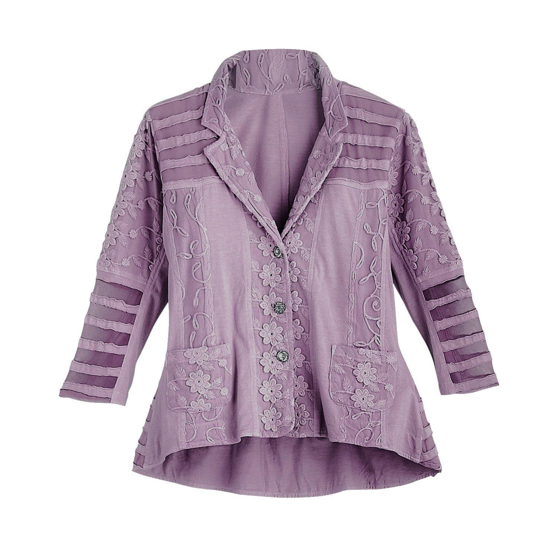 Parsley & Sage Women's Fashion Jacket - 3/4 Sleeve Katarina Embellished Blazer - Purple - 3X -Size 22-24