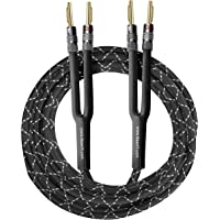 GearIT 12AWG Premium Heavy Duty Braided Speaker Wire (15 Feet) with Dual Gold Plated Banana Plug Tips - Oxygen-Free…