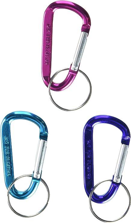 SE 1251A-144 de aluminio clave Mosquetones anillo, colores surtidos (144 PC).