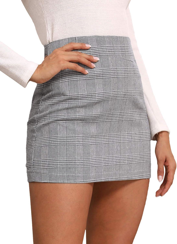 Verdusa Women's Elegant Houndstooth High Waist Zipper Pencil Mini Skirt