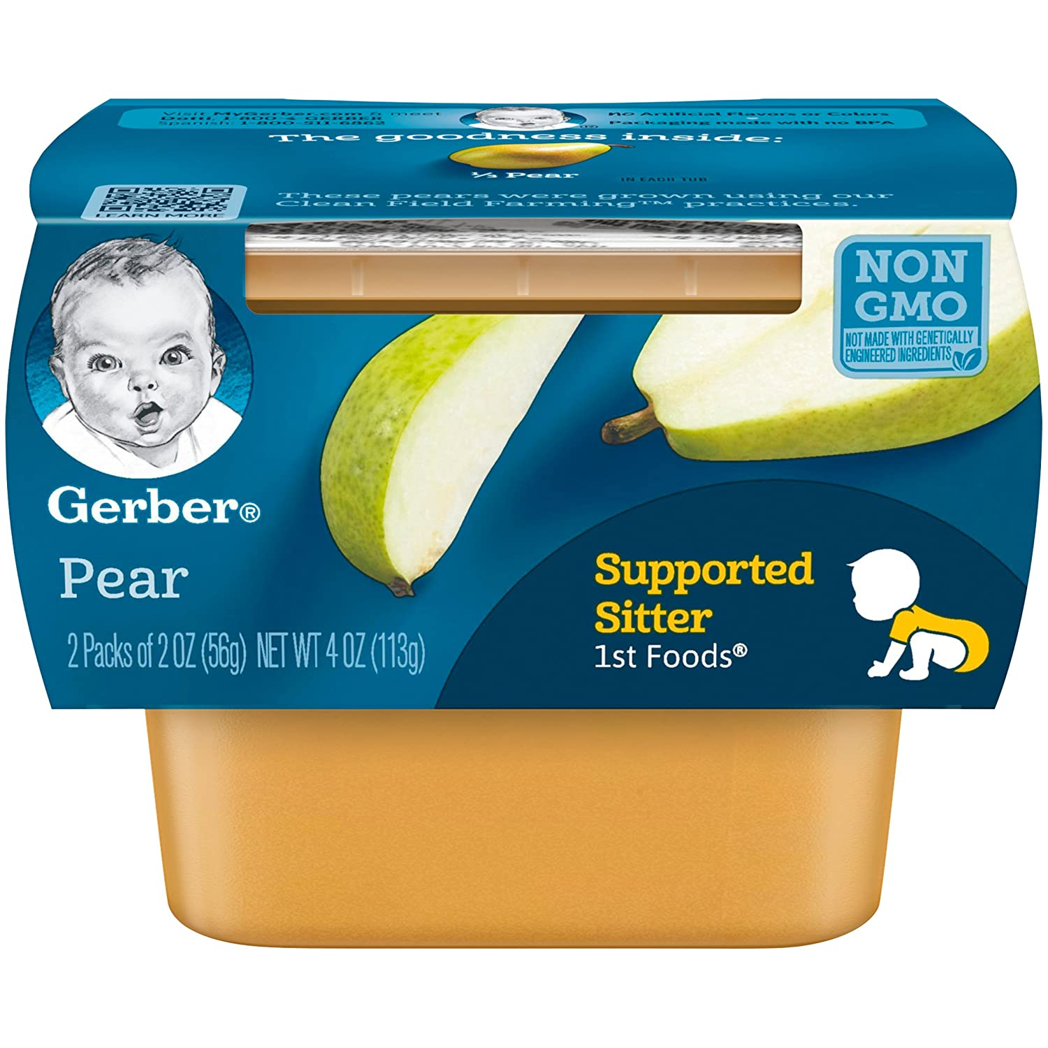 Gerber 1st Foods, Pear Pureed Baby Food, 2 Ounce Tubs, 2 Count (Pack of 8)