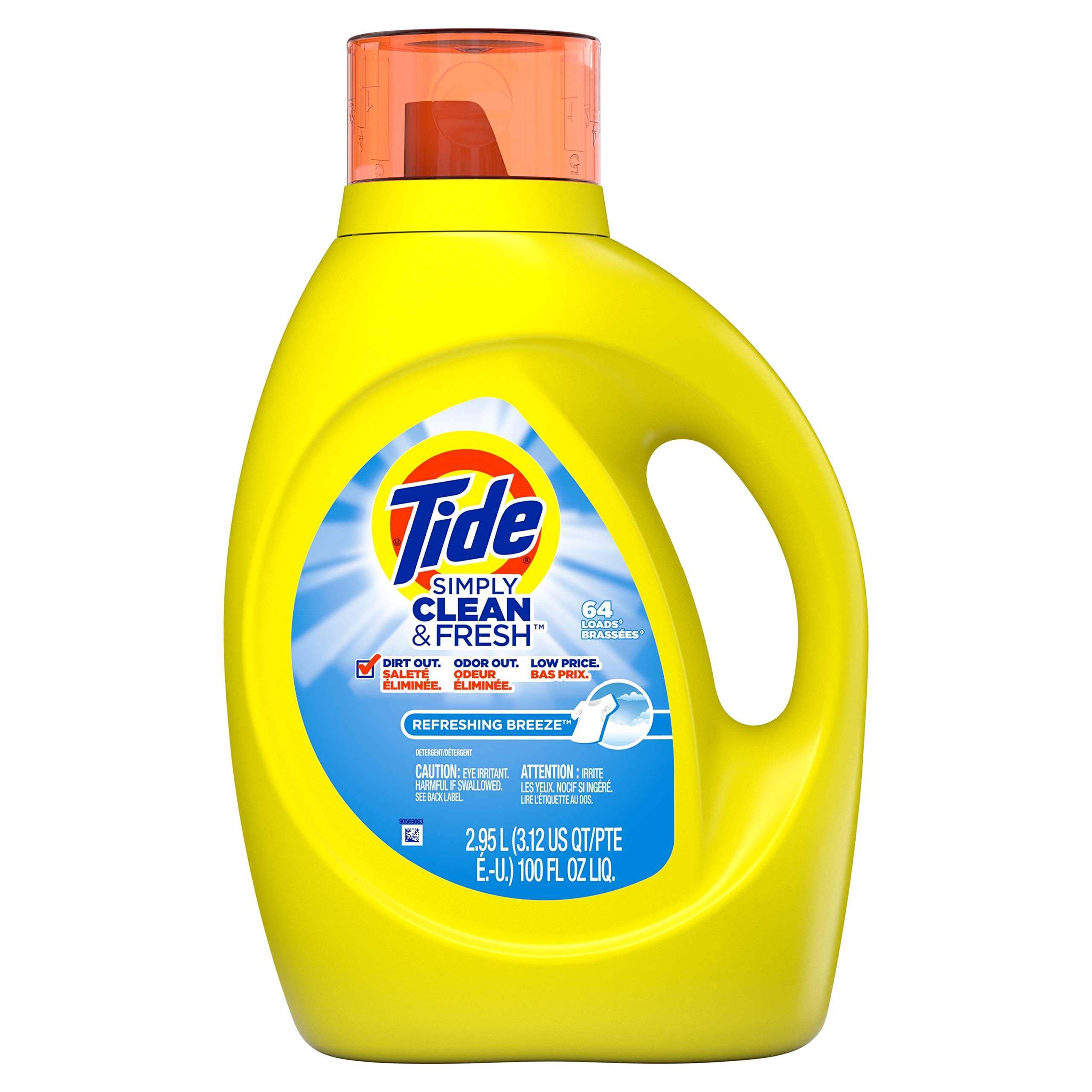 Tide 89129 Simply Clean & Fresh Laundry Detergent, Refreshing Breeze, 100oz Bottle (Case of 4)