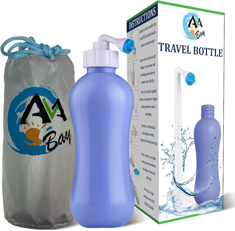 Handheld Peri Bottle for Personal Cleansing Storage Bag 2 Pack Portable Bidet 2 Dust Cap Postpartum Perineal Care with 4 Nozzle 17oz Travel Bidet Sprayer