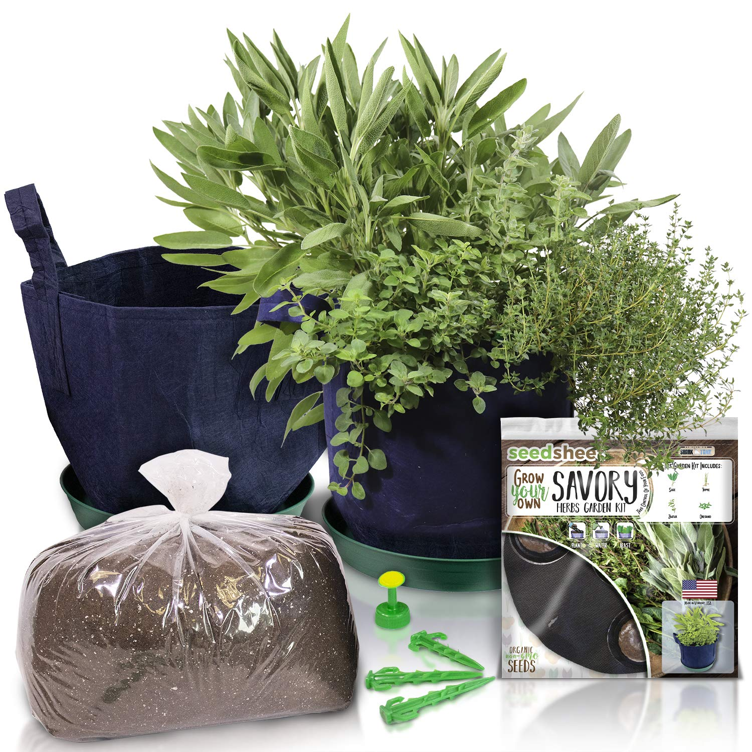 Grow Your Own Savory Herbs Complete Container Gardening Kit, with Sage, Thyme, Zaatar, and Oregano, As Seen On Shark Tank by Seedsheet