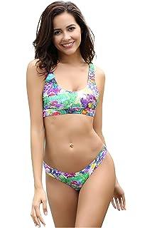 ab002ec3757 SHEKINI Women's Sport Patchwork Racerback Bikini Cheeky Bikini Bottom Two  Piece Swimsuit Suits