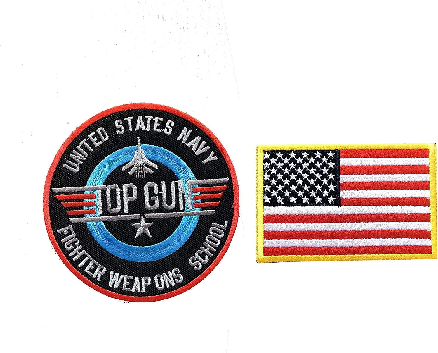 TOP GUN USA NAVY FIGHTER PILOT AIRFORCE US MILITARY BADGE IRON SEW ON PATCH