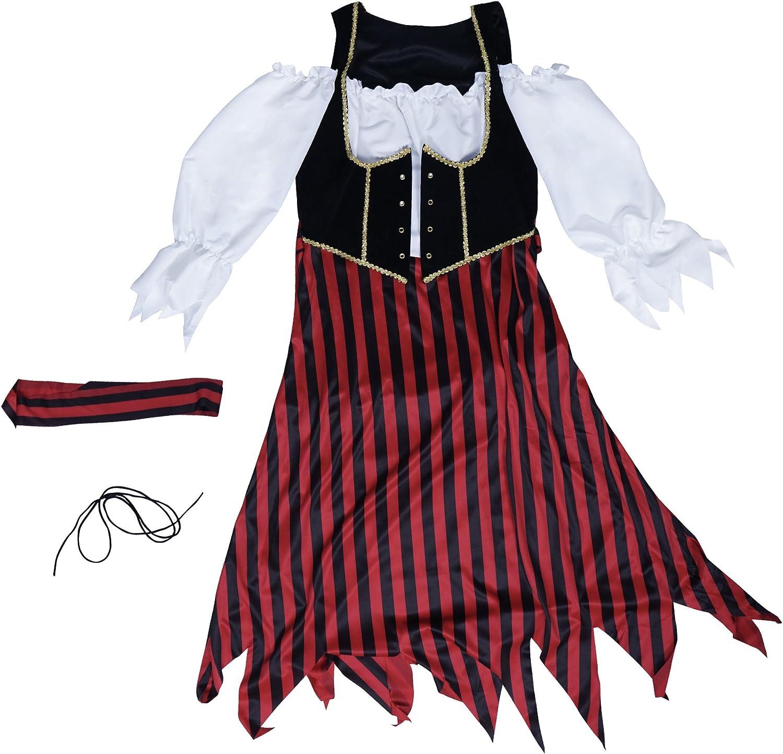 EraSpooky Pirata Donna Adulto Costume Bucaniere a Righe Caraibi Vestito