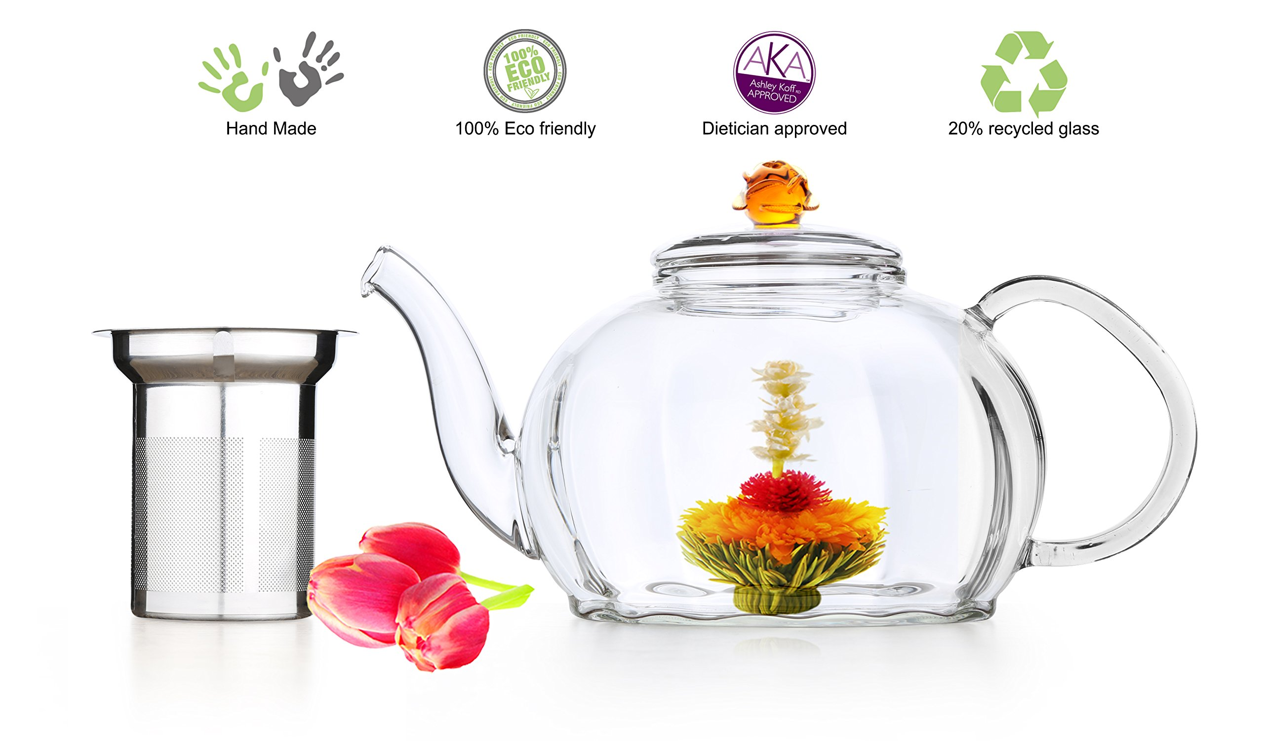 Blooming Tea Glass Teapot with Stainless Steel Infuser Amber Royal 50 oz Large Teapot Non-Drip Lead Free Glass Hand crafted Amber Rose