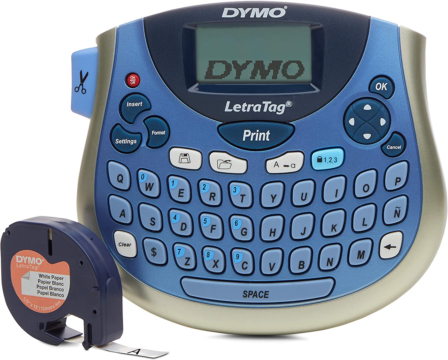 DYMO LetraTag LT-100T Plus Compact, Portable Label Maker with QWERTY keyboard (1733013),Silver/Blue: Electronics