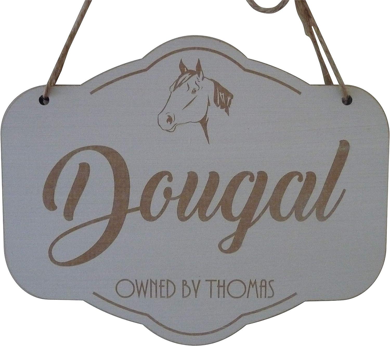 Nombre personalizado Caballo Estable puerta placa decorativa de madera placa Pony Equestrian