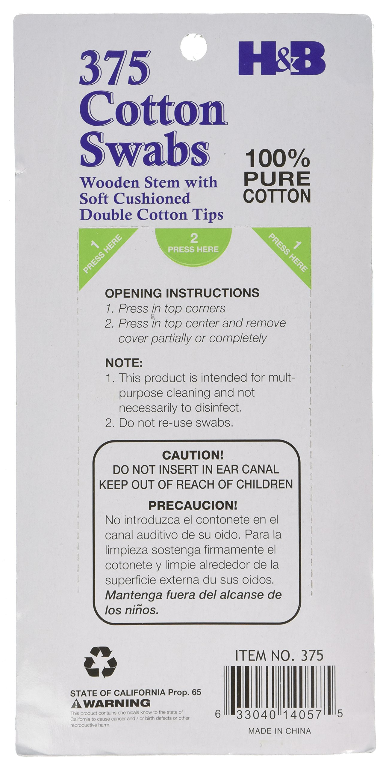 Cotton Swabs 100% Pure Cotton w/ Wooden Stem,375 Double Cotton Tips (Pack of 6), Total 2250 Soft Cotton Swabs