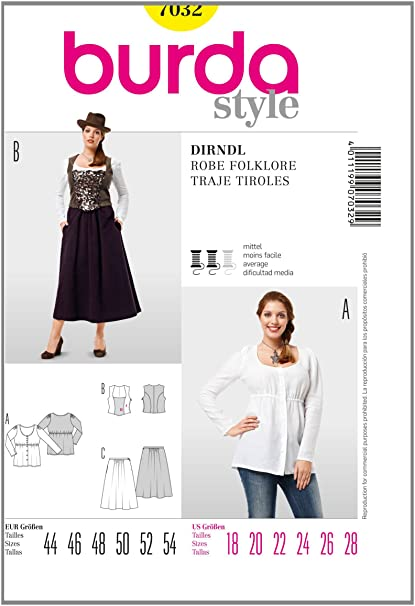 Amazon.com: Burda Style Sewing Pattern 7032: Arts, Crafts ...
