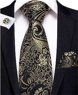 ad65bd0d59f1 DiBanGu Men's Necktie Handkerchief Silk Paisley Floral Tie Pocket Square Cufflink  Set