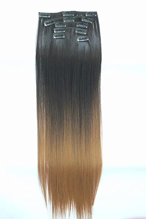 22 Full Head Clip In Hair Extensions Diy Dye Ombre 2 Tones 6 Pcs
