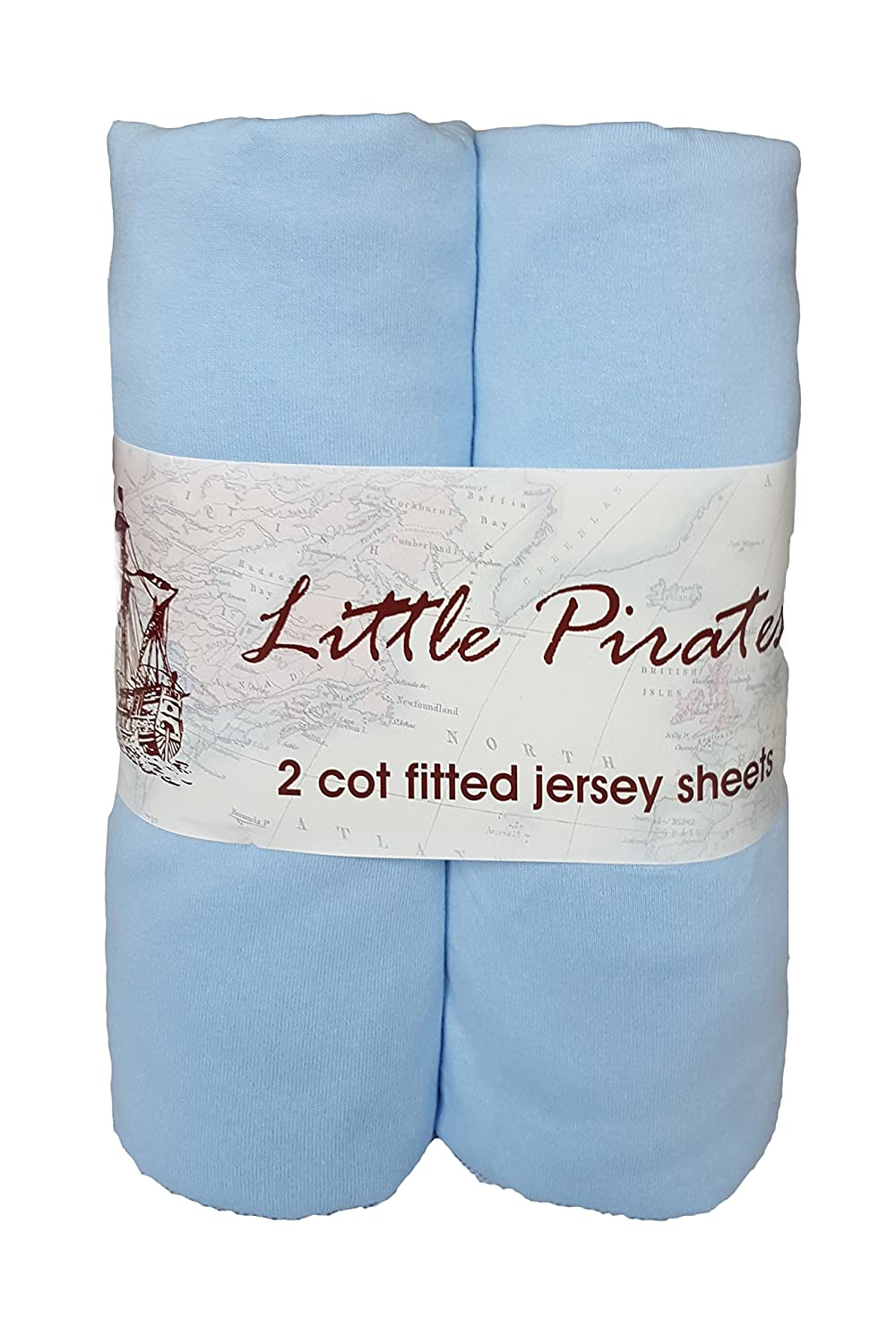 2 x Baby Cot Fitted sheet 60x120 100% Jersey Cotton - Blue Little Pirates
