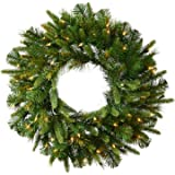"""Vickerman 36"""" Pre-Lit Mixed Cashmere Pine Artificial Christmas Wreath - Warm Clear LED Lights"""