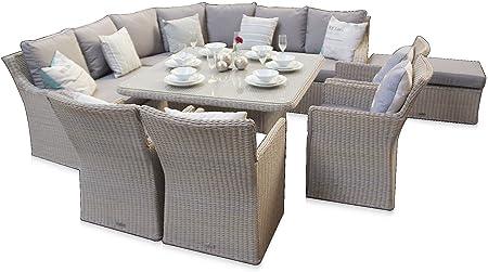 Featuredeco Nottingham Corner 8pc Sofa Dining Outdoor Rattan Set Champagne Grey Amazon Co Uk Kitchen Home