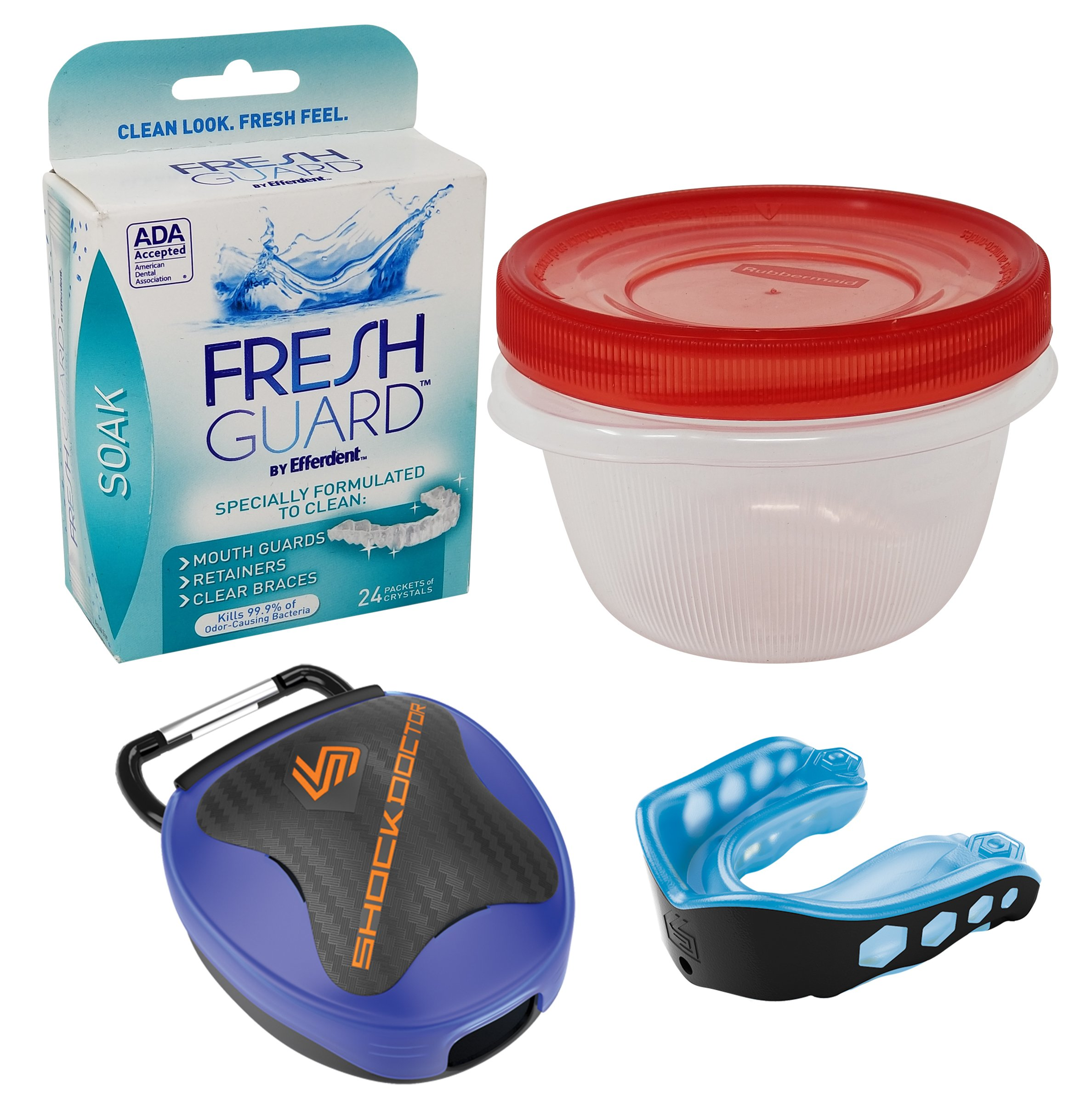 Mouth Guard Retainer Cleaner Bundle with Case - 1 Shock Doctor Gel Max Mouth Guard, 1 Case, Efferdent Cleaning Crystals, Rubbermaid Cleaning Storage Container (Blue, Youth) by Sport and Hound (Image #1)