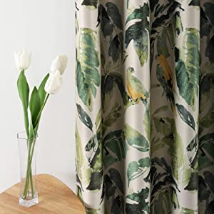 Leeva Room Darkening Heavyweight Curtains for Sliding Door, Thermal Insulated Green Leaves Blackout Window Treatment Decor Drapes for Bedroom, 2 Panels, 52x84