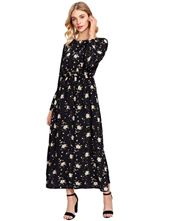 ffd58ebd06 Milumia Women s Boho Long Sleeve Floral Print Beach Party Maxi Dress Black  Medium