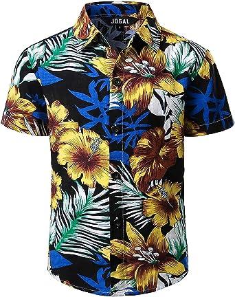 JOGAL Camisa hawaiana de manga corta con botones para verano, diseño floral