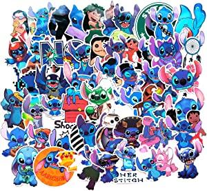 Meet Holiday Cute Stitch Decoration Stickers Waterproof Vinyl Scrapbook Stickers Car Motorcycle Bicycle Luggage Decal 52 PCS Laptop Stickers (Lilo & Stitch)