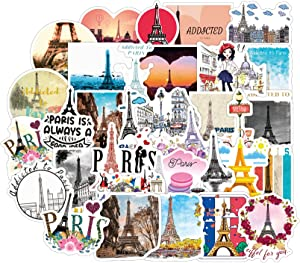 [FOCUS's Stickers]50Pcs Timelapse of France A Walk in Paris Stickers for Laptop Cellphone Water Bottle Hydro Flask Skateboard Luggage Car Bumper, etc FJKT