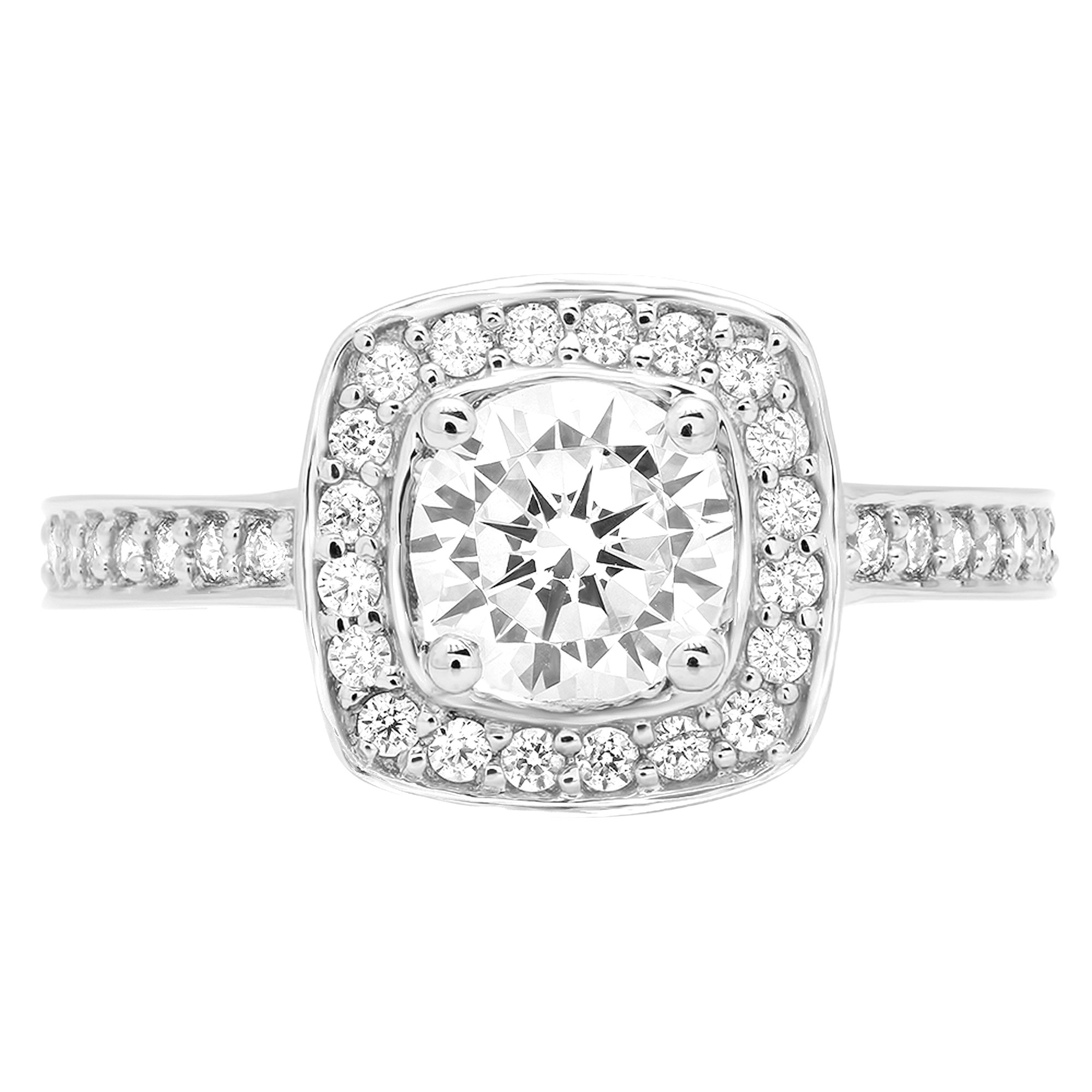 1.46 ct Brilliant Round Cut Halo Solitaire Statement Simulated Diamond Ring in Solid 14k White Gold for Women, 6.25