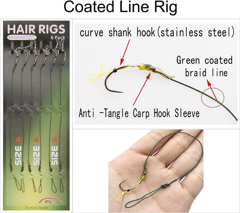 Jasmine 2#,4#,6# Carp Fishing Coated Line Hair Rig /& Braid Line Lead Rigging /&Anti-Tangle Rig Sleeves Carp Fishing Groups Hooks Connector Fishing Swivel