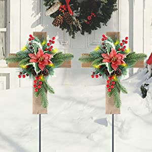 MorTime 2 Pack Christmas Garden Stakes Decor, Wooden Cross Yard Stake with LED Lights for Home Outdoor Yard Lawn Pathway Walkway Driveway Christmas Holiday Winter Decoration