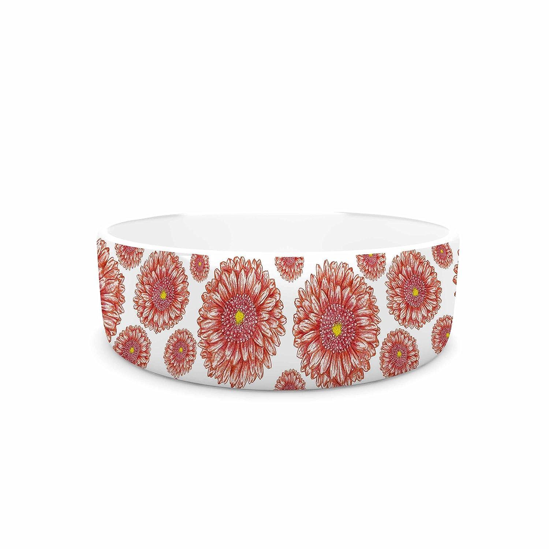 4.75\ KESS InHouse Alisa Drukman orange flowers. Gerbera  Floral Pattern Pet Bowl, 4.75